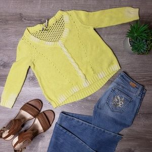 Guess size medium yellow knitted crop sweater